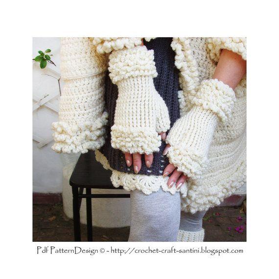 Winter White Fingerless Fur Gloves. Crochet Pattern by PdfPatternDesign.