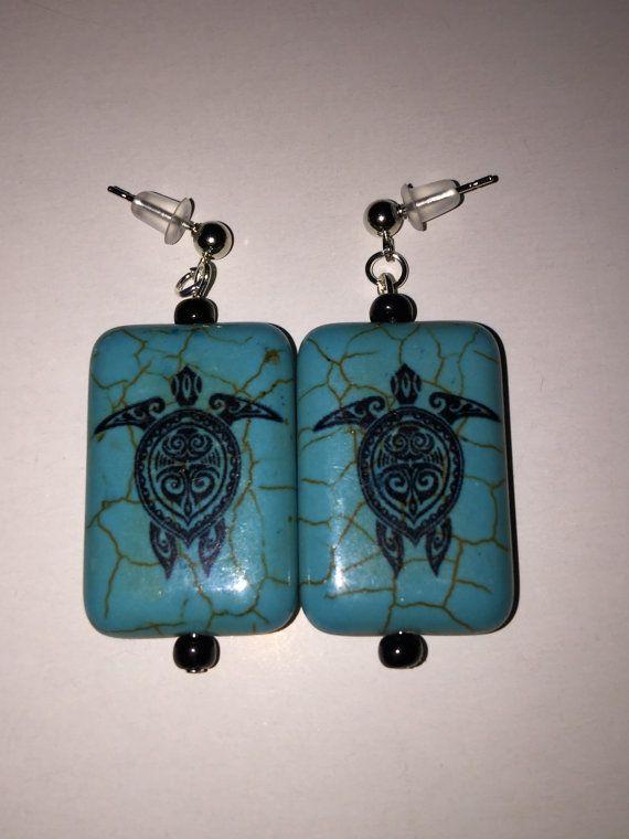 Turquoise Native American Turtle Dangle Pierced Earrings Earrings