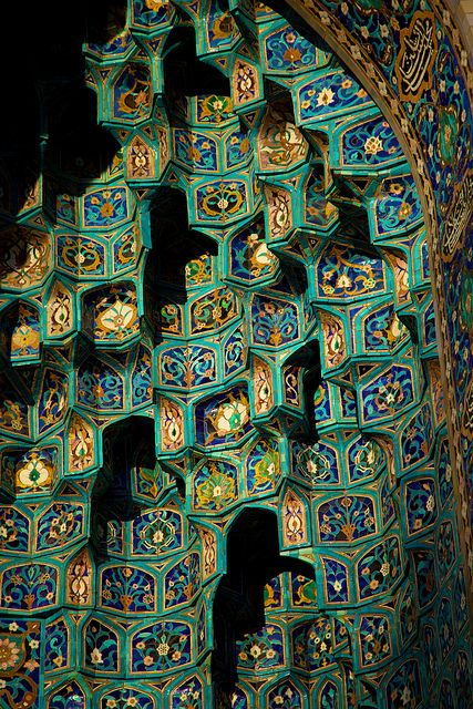 Blue tiles on the facade of the St. Petersburg Mosque, Russia (by timtom.ch).