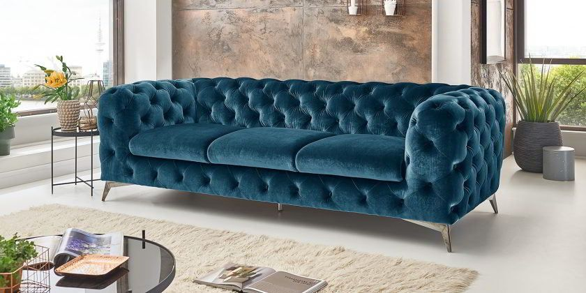 Chesterfield Sofa Modern Samt Turkis 3 Sitzer Big Emma Sofas In