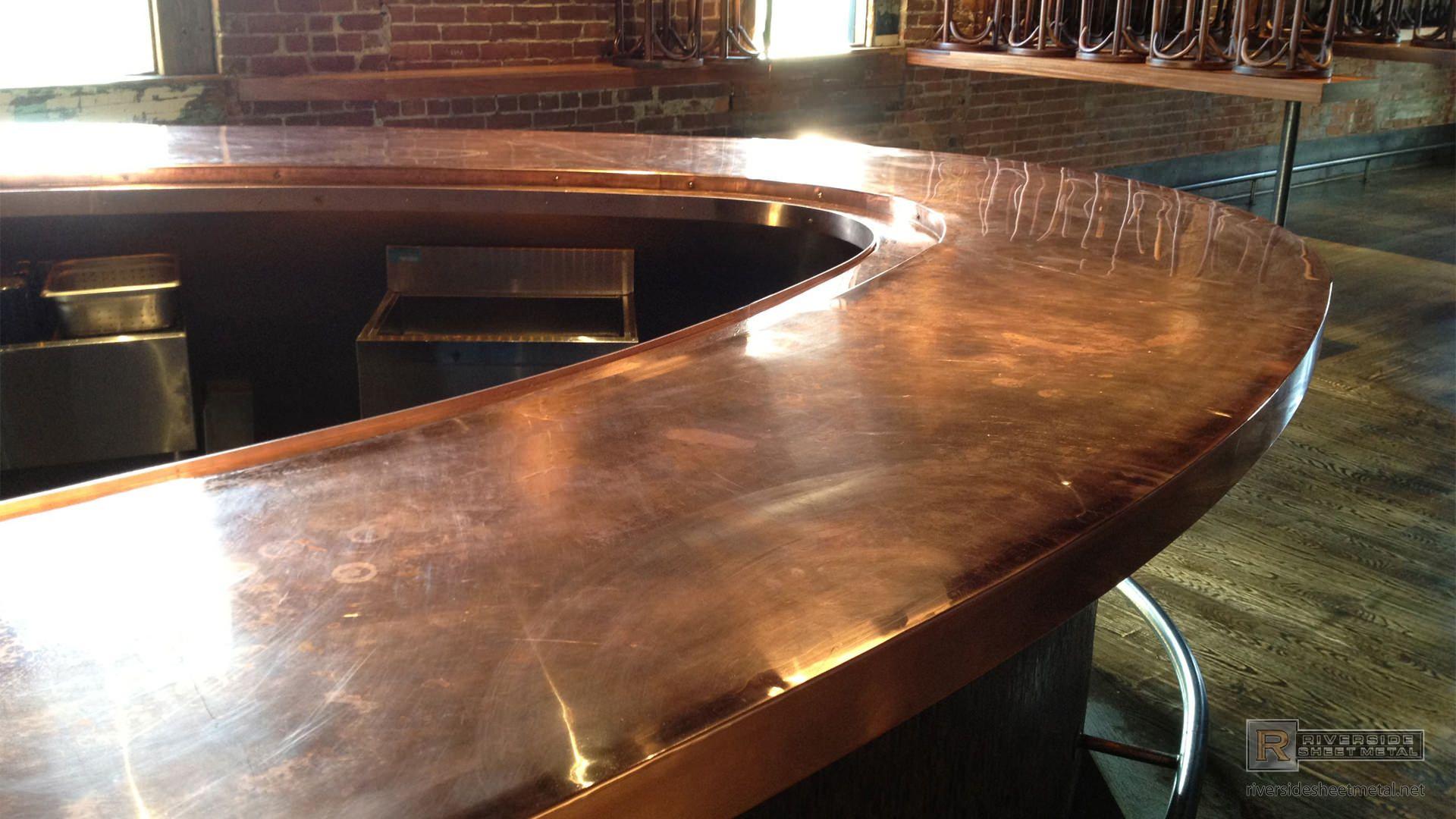Radius Copper Bar Top Copper Counter Tops Outdoor Kitchen Countertops Copper Bar Top Copper Countertops