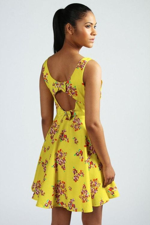 Women s Fashion Clothing Leona Yellow Floral Print Bow Back Skater Dress 0f56a9adc9