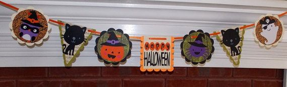 Happy Halloween Die Cut Banner  7  panels  owl by APaperPlayground, $20.00