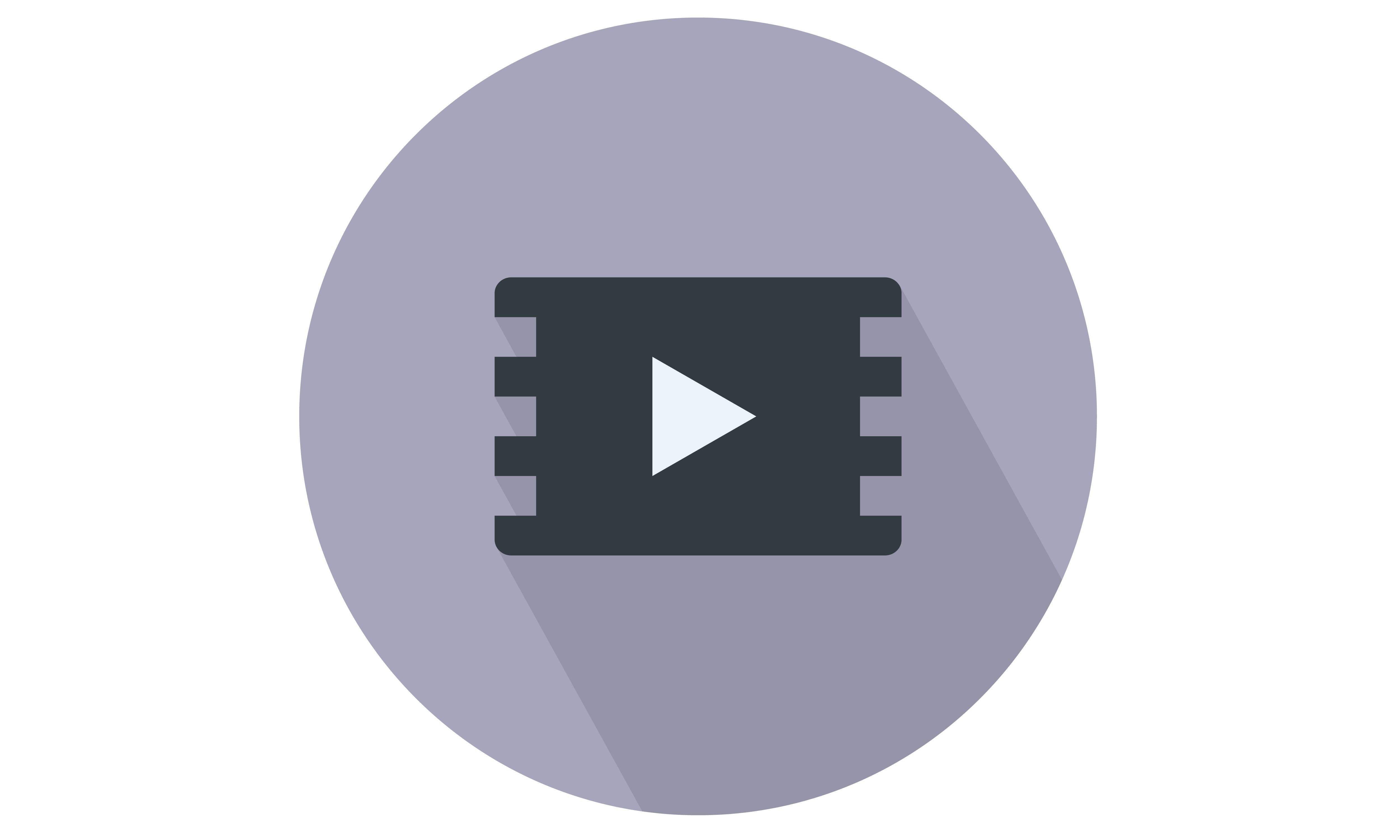 Film Strip with play button / sign vector icon.From Our
