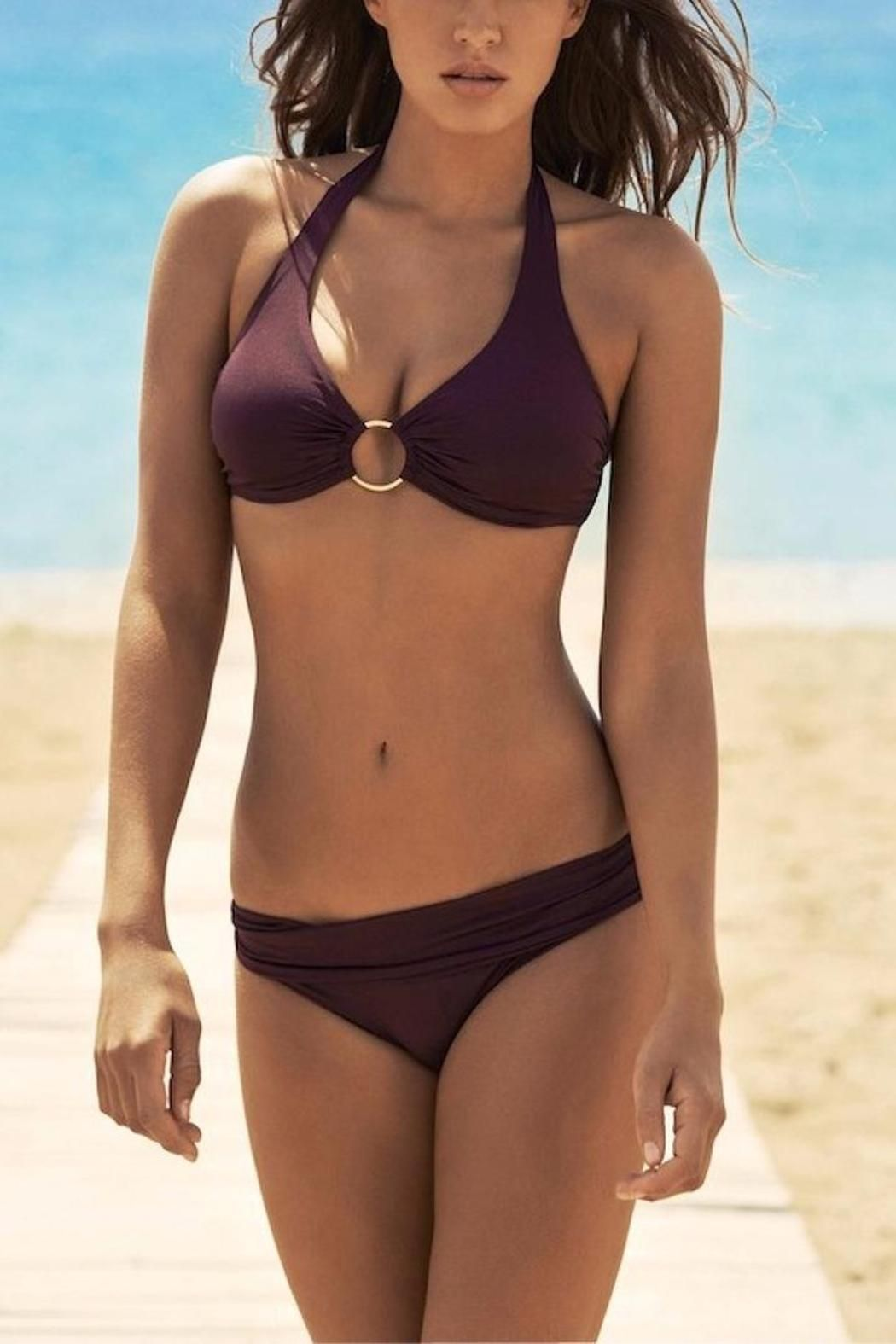 Classic halterneck bikini featuring hidden underwire and a metal ring at the bust that allows for ample support and full coverage. It's matching fold-over bottoms offers fuller coverage. Plum Color   Brussels Bikini by Melissa Odabash. Clothing - Swimwear - Tops - Underwire Miami, Florida