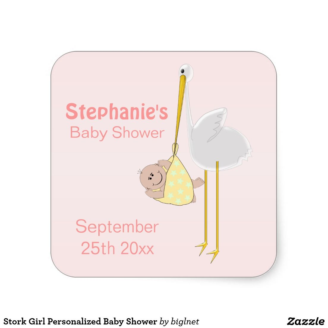 Stork Girl Personalized Baby Shower Square Sticker