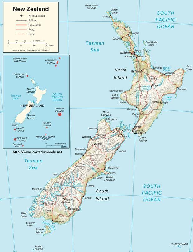 Grande Carte Nouvelle Zelande Sur Carte Du Monde En 2020