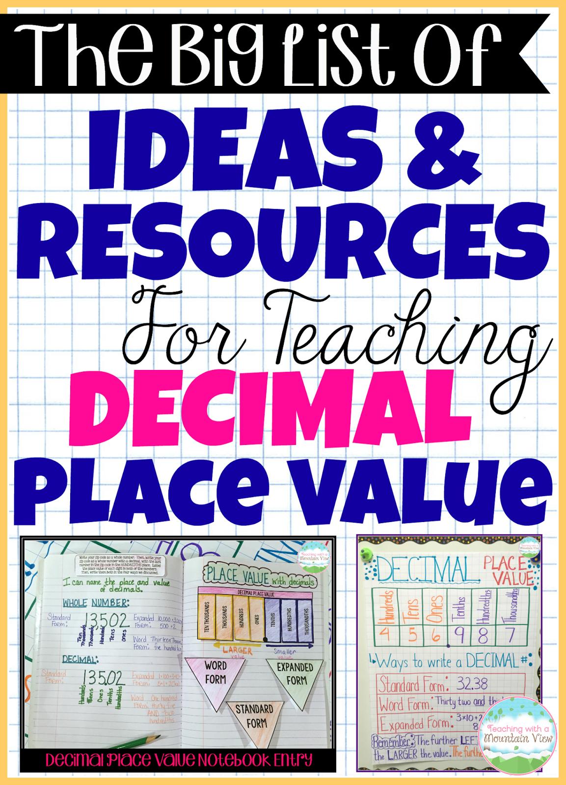 Decimal Place Value Resources Amp Teaching Ideas