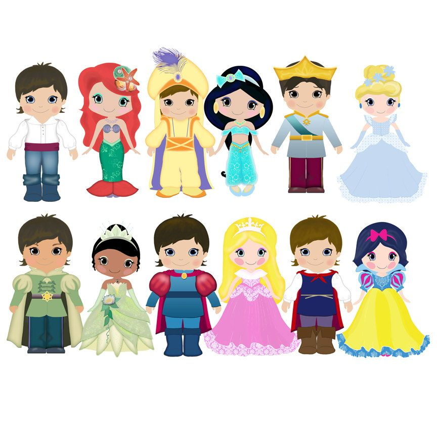 Prince and princess clip art 12png300dpi for commercial and ...