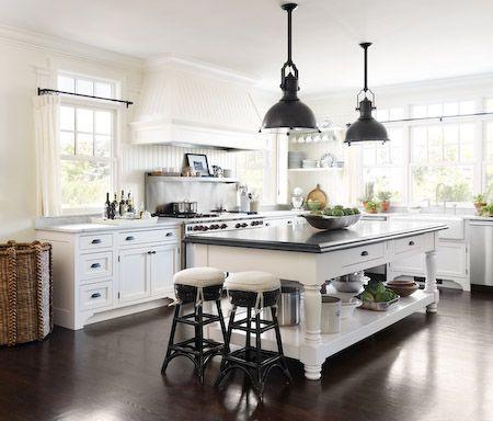 FleaingFrance.....wonderful mix of elements in a white kitchen