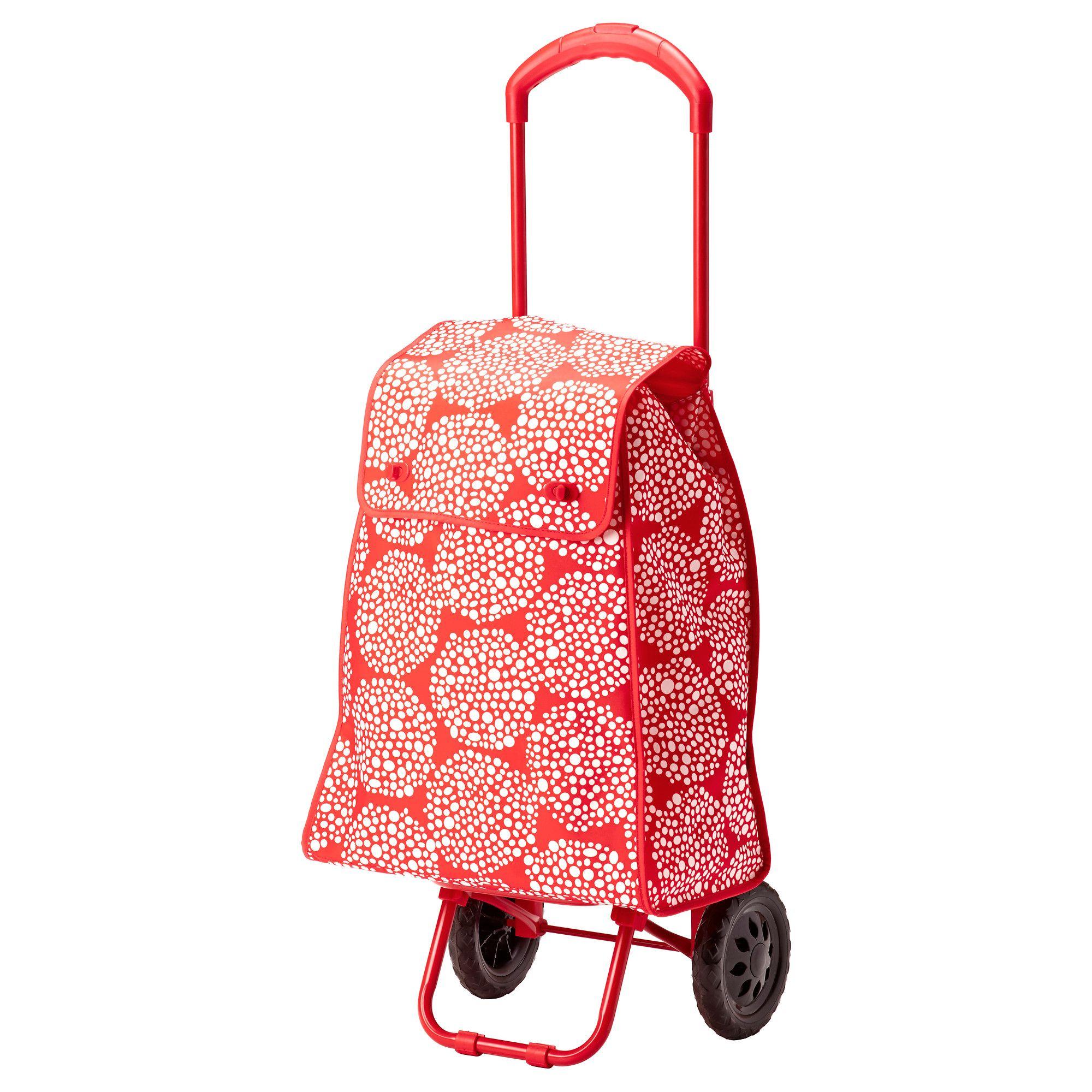 IKEA - KNALLA, Einkaufsroller, rot/weiß, , Der Einkaufsroller lässt sich flach zusammenlegen und daher leicht verstauen.Dank der abnehmbaren Innentasche und dem Schlüsselhaken sind Mobiltelefon, Schlüsselbund und Geldbeutel schnell griffbereit.Der Griff lässt sich in zwei Längen einstellen.Perfekt, um alles Mögliche zu transportieren - ob Schmutzwäsche, Vorräte oder Restmüll.Leicht zu reinigen - einfach mit einem feuchten Tuch abwischen.