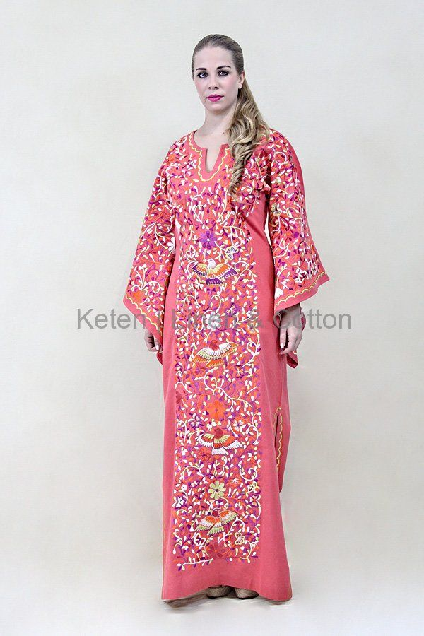 Vestido En Manta Color Coral Bordados Artesanales | Pinterest ...