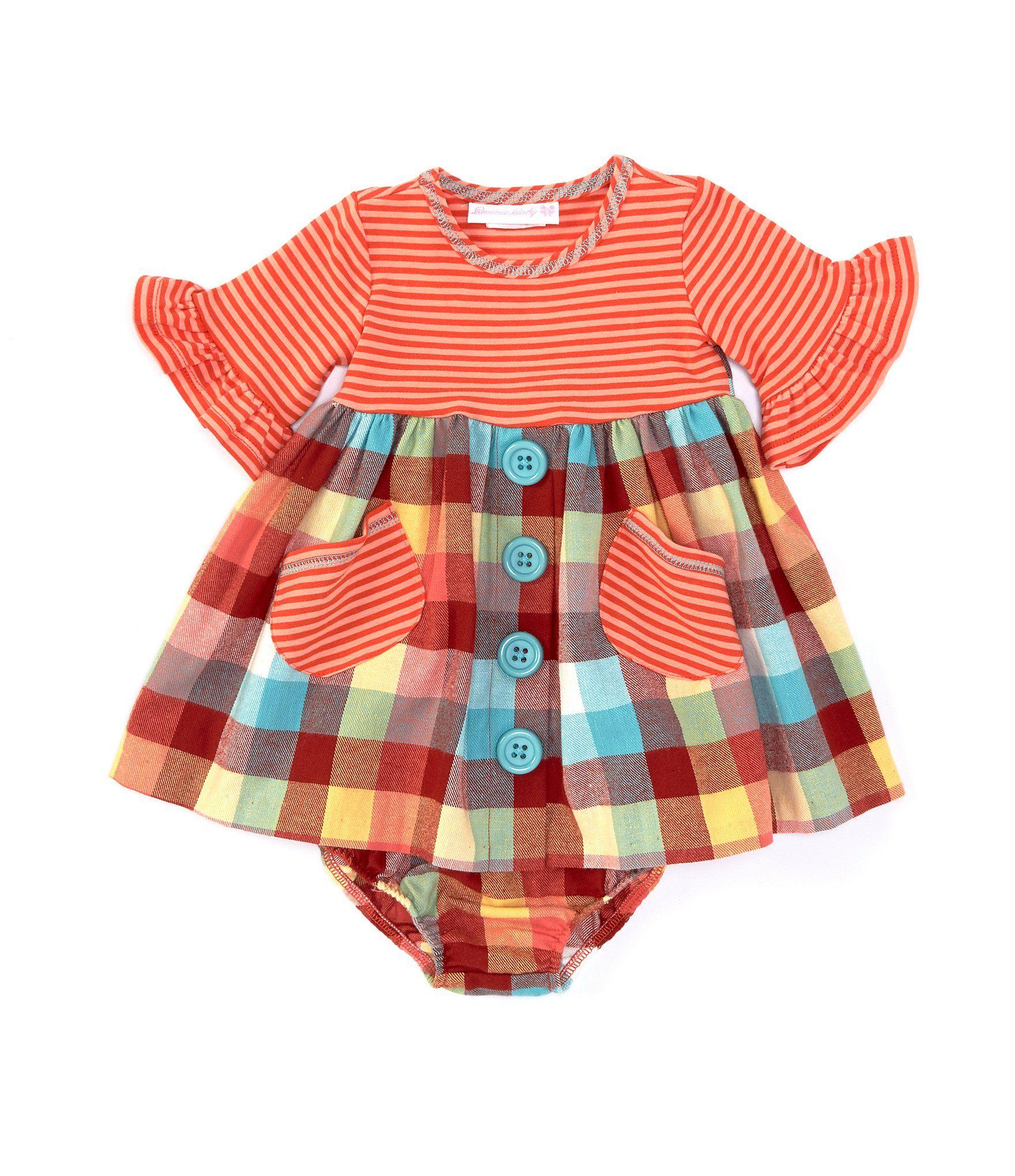 Photo of Bonnie Jean Baby Girls Newborn-24 Months Striped KnitPlaid Flannel Babydoll Dress – Orange 24 Months