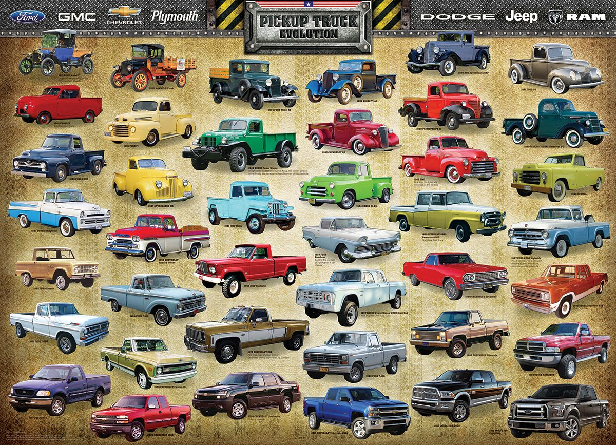 Pickup Truck Evolution 1000 Piece Puzzle The First Pickup Truck