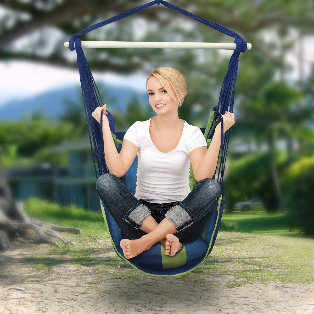 AmazonSmile : Sorbus® Blue Hanging Rope Hammock Chair Swing Seat For Any  Indoor Or Outdoor Spaces  Max. 265 Lbs  2 Seat Cushions Included : Patio,  ...