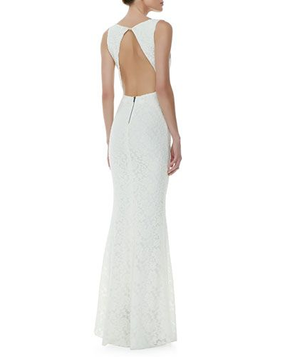 Sachi Open Back Lace Gown Ivory Dresses 3