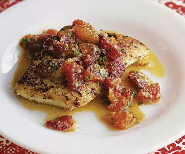 Roasted halibut with blood orange salsa