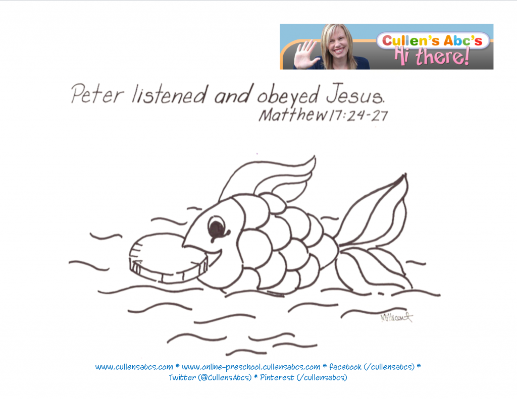 Money In A Fish Bible Memory Verse Coloring Page For A Plete