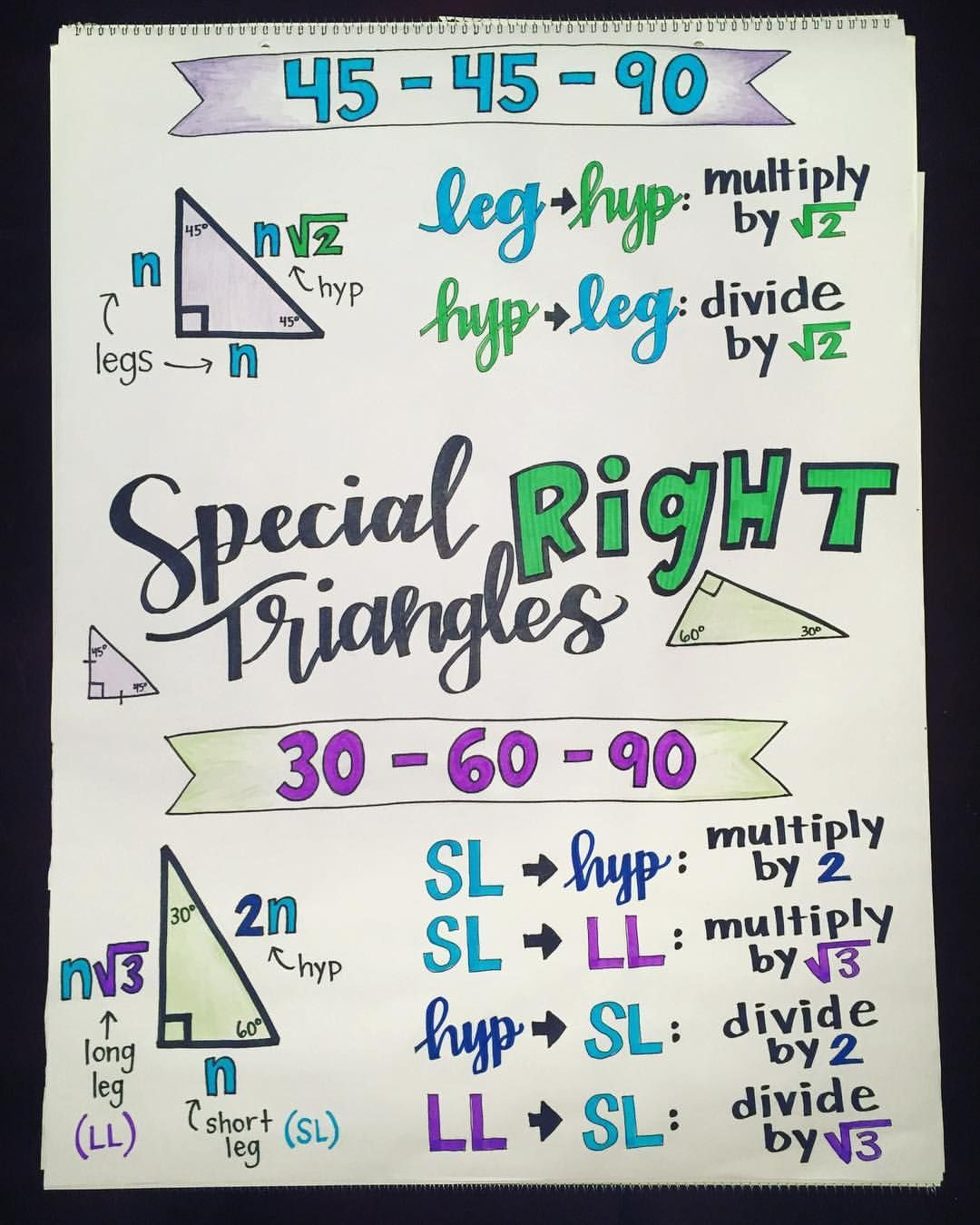 Special Right Triangles Middle Amp School Geometry
