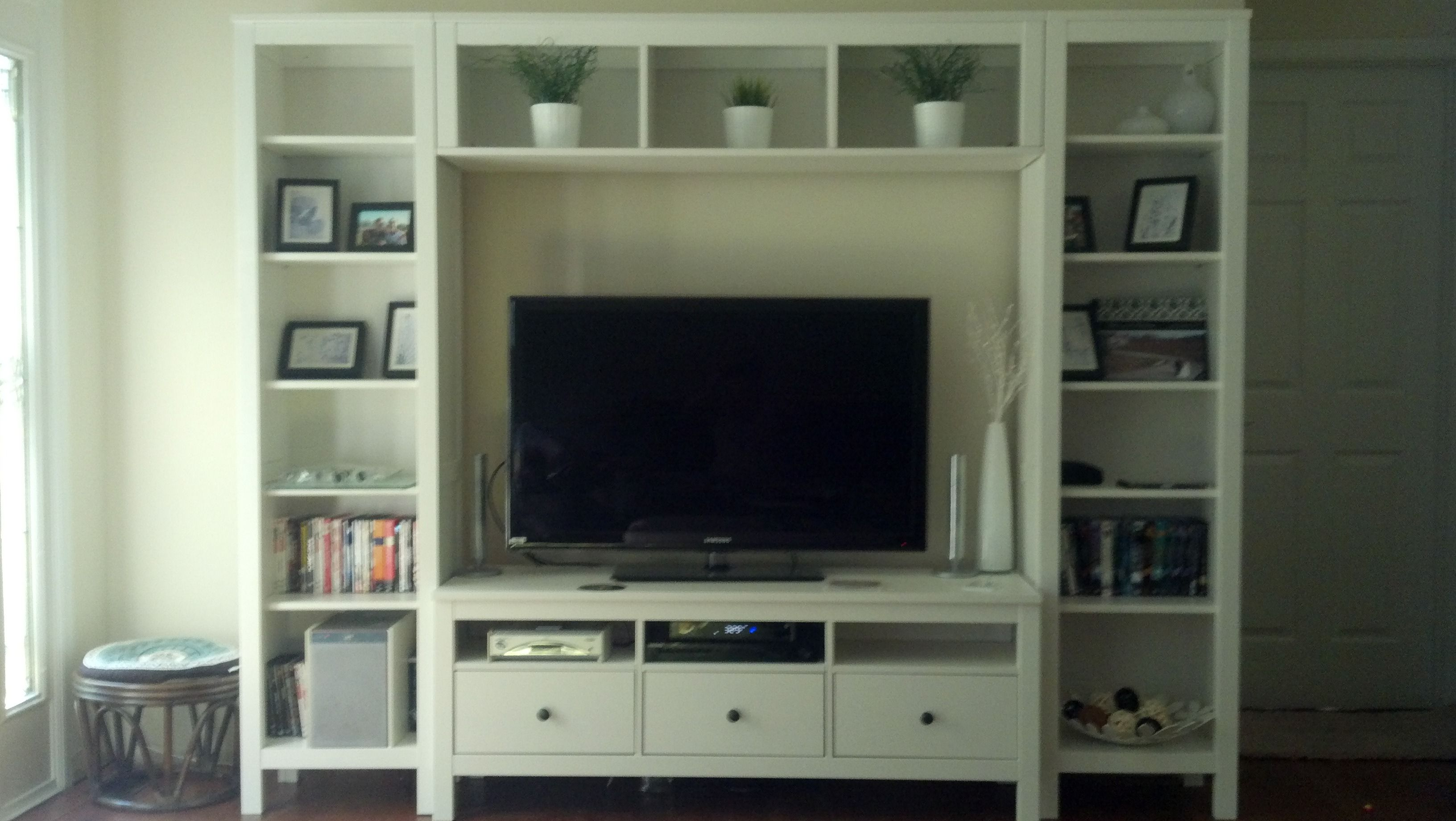 Ikea Entertainment Center Cost 600 Time To Build 3 Hrs Ikea Entertainment Center Built In Entertainment Center Ikea Hemnes Living Room