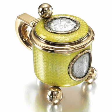 A FABERGÉ SILVER-GILT AND ENAMEL TANKARD, WORKMASTER ANDERS NEVALAINEN, ST PETERSBURG, CIRCA 1895 Estimate: 7,000 - 9,000 GBP  LOT SOLD. 67,250 GBP  (Hammer Price with Buyers Premium) the surface enamelled in translucent chartreuse yellow over scalloped engine-turning, the lid and front inset with silver coins of Catherine the Great dated 1767 and 1772, on three ball feet.  From the Romanov Heirloom sale at Sotheby's.