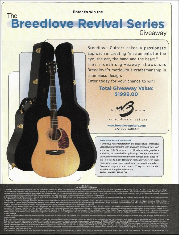 Breedlove Revival Series DM acoustic guitar 8 x 11 contest 2005 ad