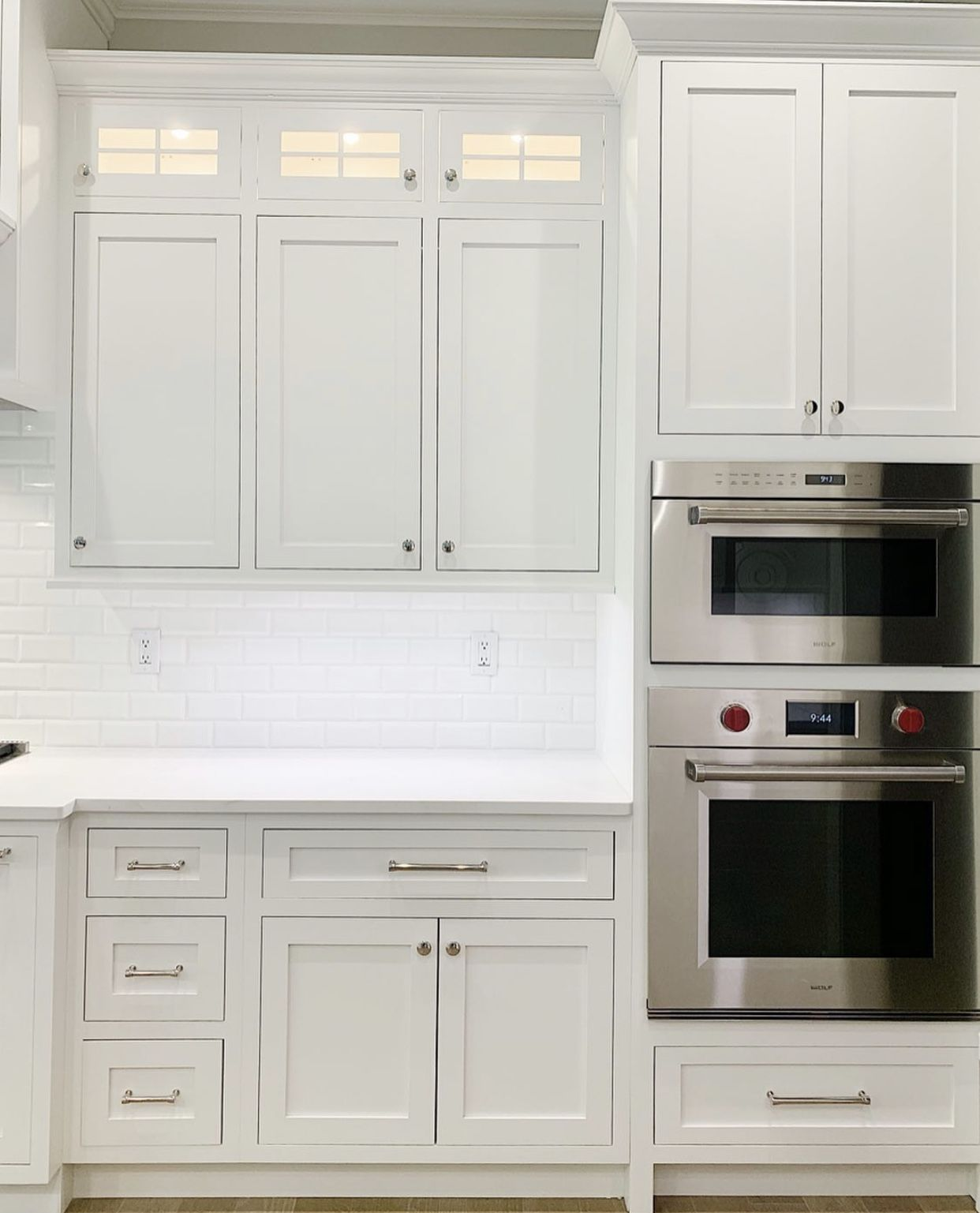 Monarch Cabinetry Kitchen In 2020 Cabinetry White Countertops White Backsplash
