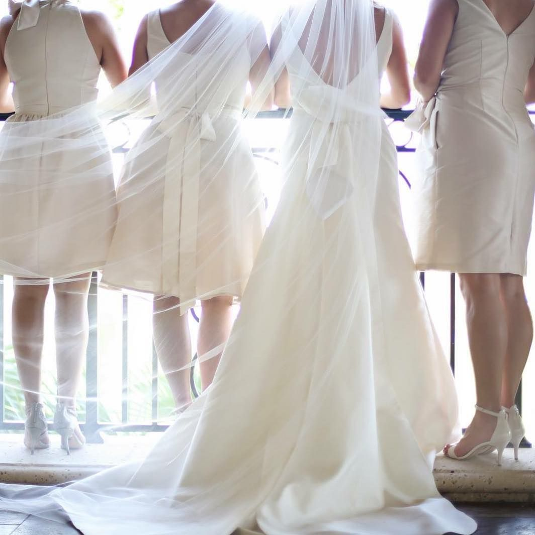 Who Says You Can T Wear White To A Wedding You Can When The Bride Picks White Bri Blush Bridesmaid Dresses White Bridesmaid Dresses Elegant Bridesmaid Dresses