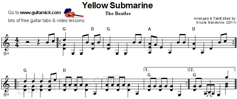 Yellow Submarine Acoustic Guitar Sheet Music Piesne Bsne