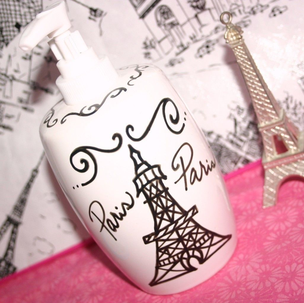 Paris Decor Themed Bathroom Accessories   Eiffel Tower Soap Dispenser   Eiffel  Tower Lotion Dispenser. $18.00, Via Etsy.