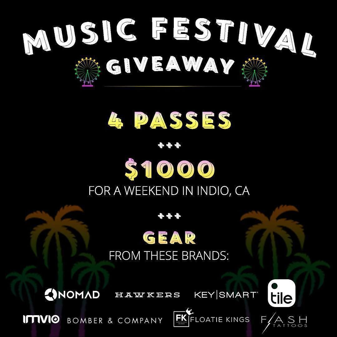 #Repost @nomadgoods  Nothing like a chance to win some free tickets a ton of gear and some $$$. Link in @nomadgoods bio!  Bit.ly/1qf14Bh We've partnered with a grip of awesome companies to give you the chance to win tickets for you and your friends to everyone's favorite Southern California music festival. #sweepstakes #FreeStuff #entertowin #GiveAway @nomadgoods @hawkersco @tiledit @keysmart @go.imvio @floatiekings @bomberandcompany @flashtattoos #musicfestival #indio #edm #edmlife…