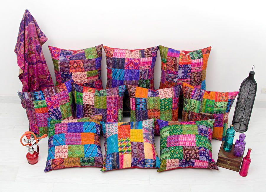 20x20 Pillow Cover Kantha Throw Pillow Indian Home Decor