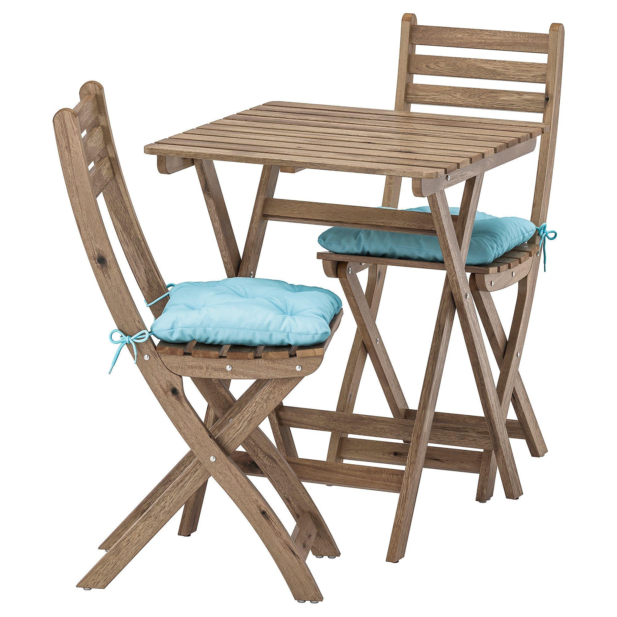 Askholmen Tisch 2 Stuhle Aussen Graubraun Lasiert Kuddarna