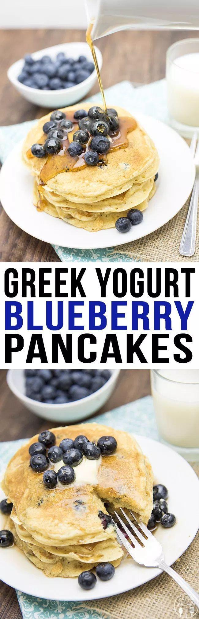 Griechische Joghurt-Heidelbeer-Pfannkuchen - Das sind die besten Pfannkuchen aller Zeiten! Vollgepackt ... -
