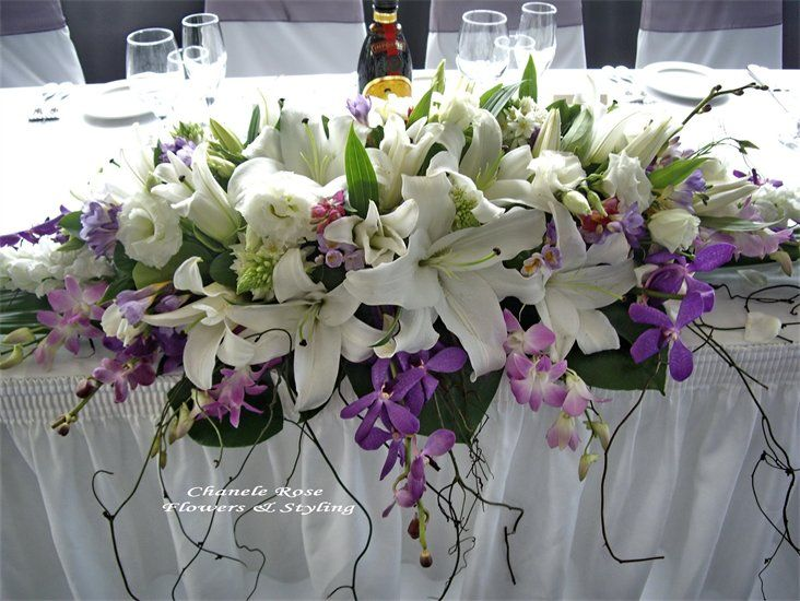 Head table flower arrangement hydrageas instead of lillies for Floral arrangements with branches