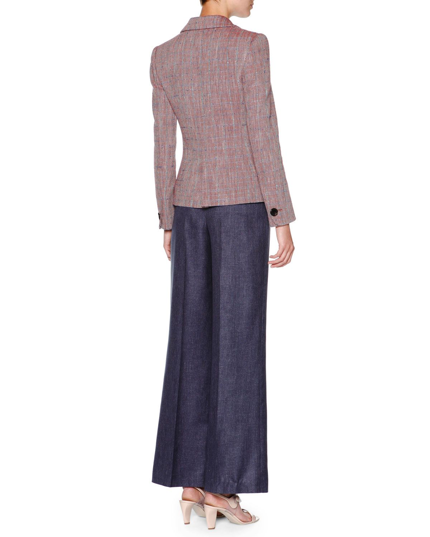 Giorgio Armani Long-Sleeve One-Button Jacket, Short-Sleeve Pique Polo Shirt & Wide-Leg Denim Trousers