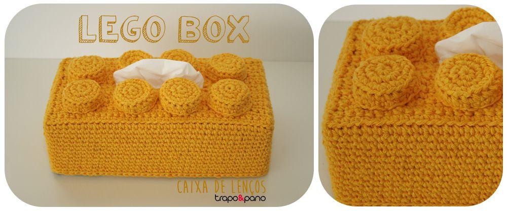LEGO Box Yellow Capa para caixa de lenços. Decoração infantil. Crochet