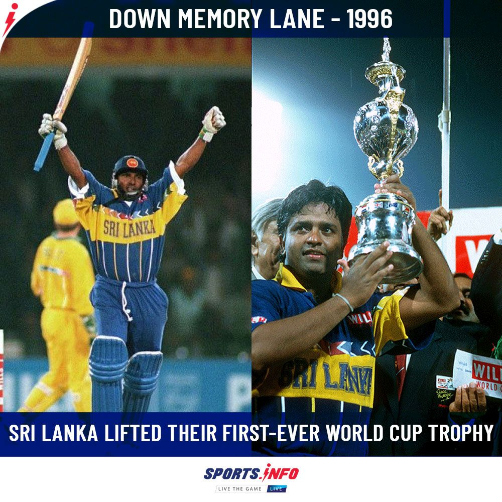 On This Day Sri Lanka Won Their 1st World Cup Title Aus Vs Sl Cricket World Cup 1996 In 2020 World Cup Cricket World Cup World Cup Trophy