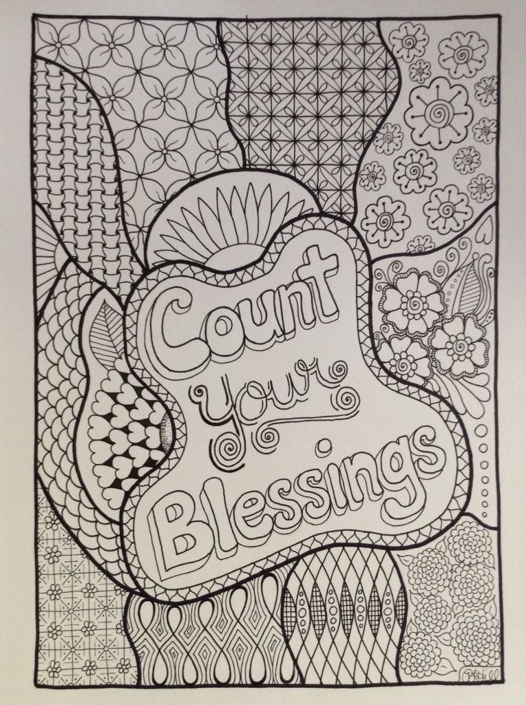 One of the 13 pages that will be in the new coloring book