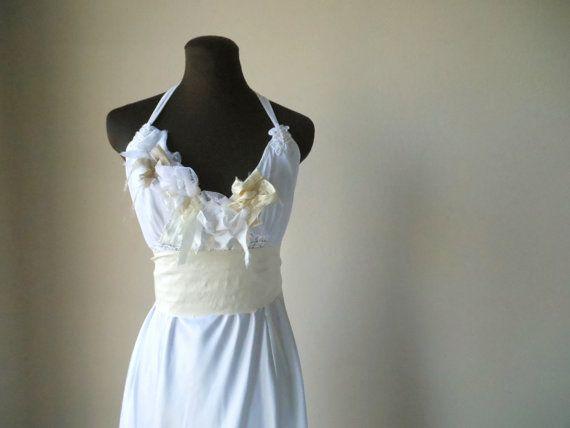 Boho Shabby Chic Wedding Dress Satin Tattered Low Back by colorada, $500.00