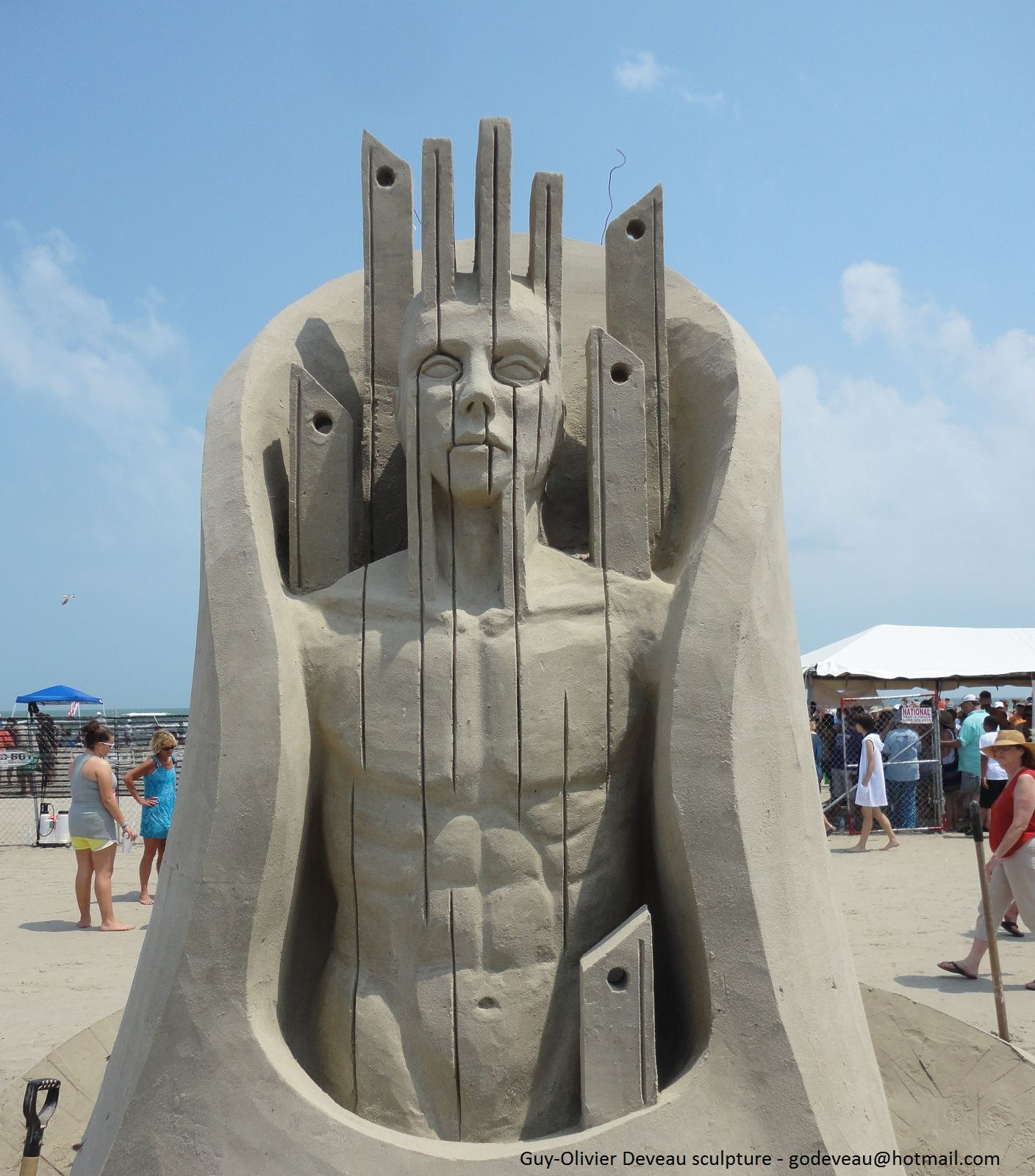 """vertical"" Port Aransas 2013. #sand #sandsculpture Guy"