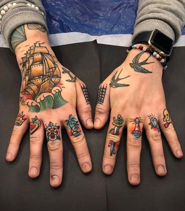 15 Unique Tattoos Of Modern Style For Shoulder And Arm In 2020 Hand Tattoos For Guys Traditional Hand Tattoo Finger Tattoos