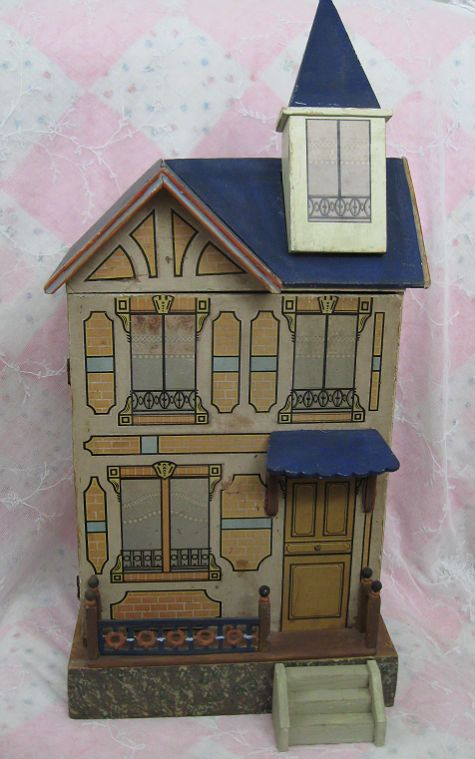 Gottschalk German Dollhouse with BLUE Roof Dolls And Lace.com