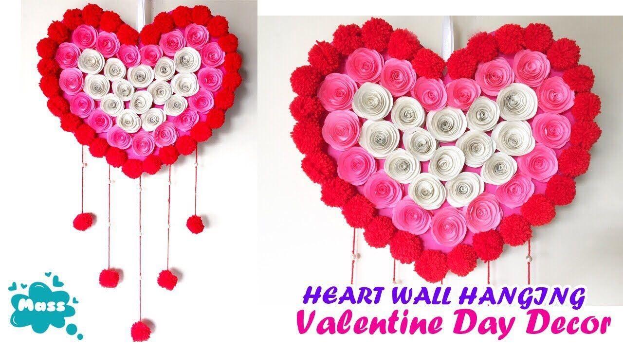 Diy Heart Wall Hanging Valentine Wall Decor Ideas Paper And Woolen Wall Hanging Cr Wall Hanging Crafts Diy Valentines Day Wreath Diy Valentines Decorations
