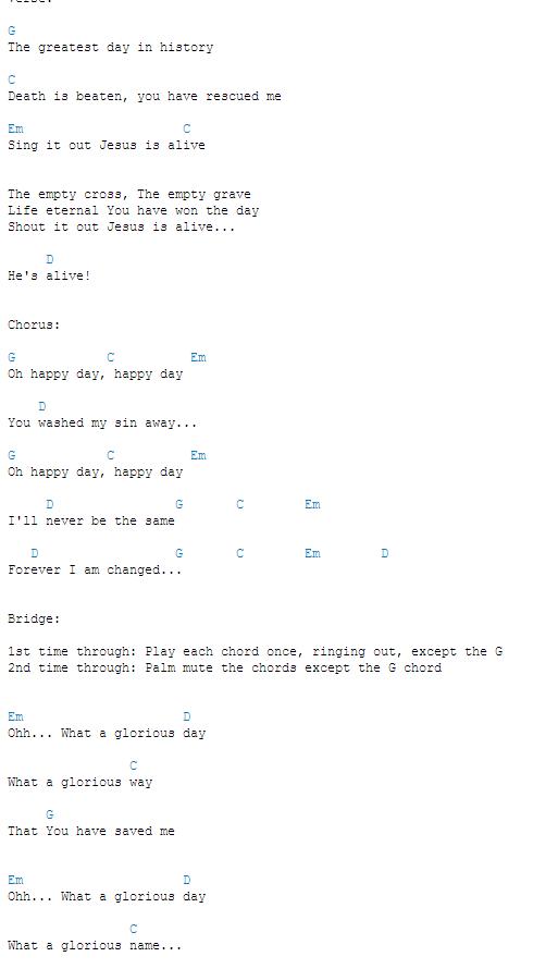 Happy Day Chords Ukuleleguitar Pinterest Guitars Songs And
