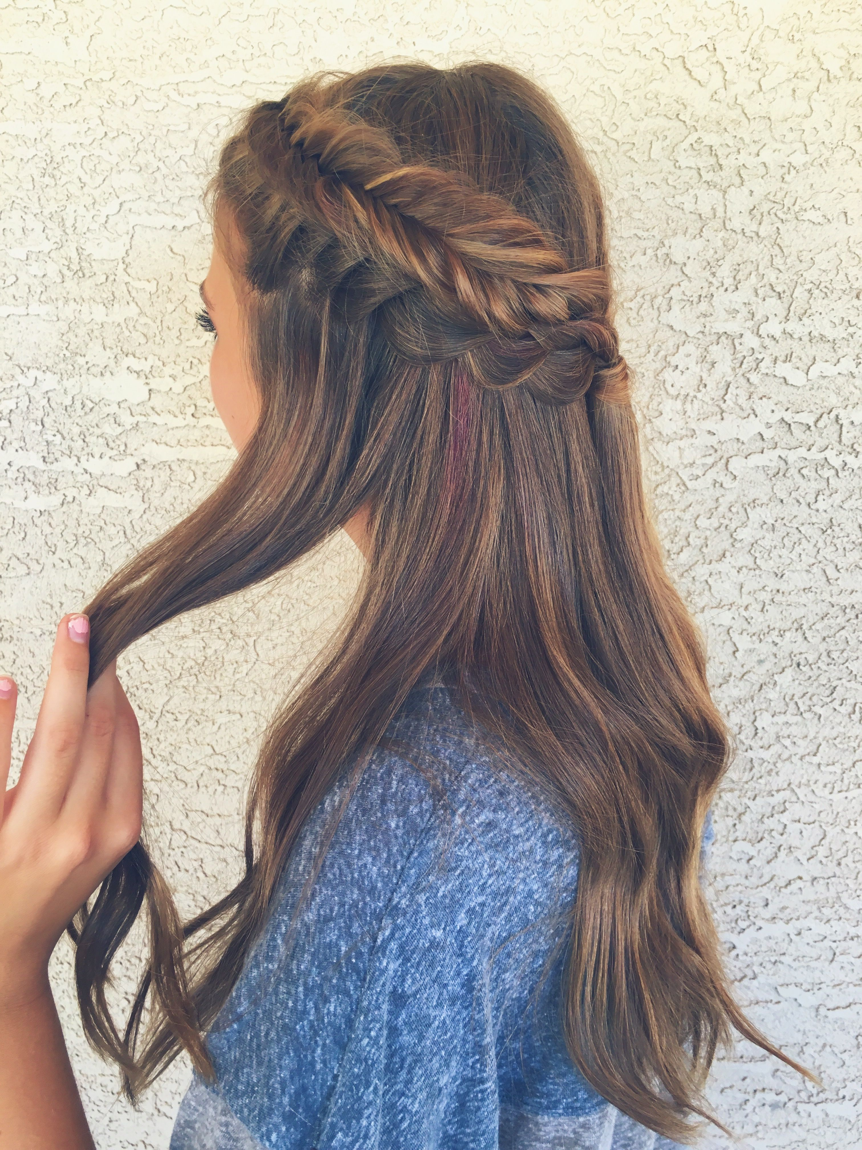 Spiral Curls With French Braided Bangs Curled Hair With Braid Braided Headband Hairstyle Braided Prom Hair