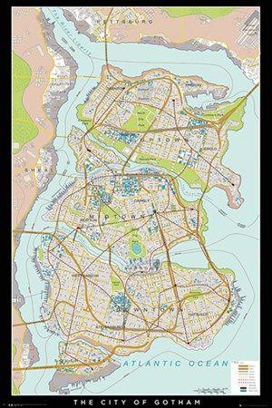 Buy Batman Begins Gotham Map Poster Onepostercom UK Store - Buy map posters