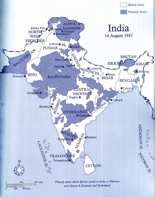 The Map Of India On 14 August 1947 Before The Radcliffe Award Was