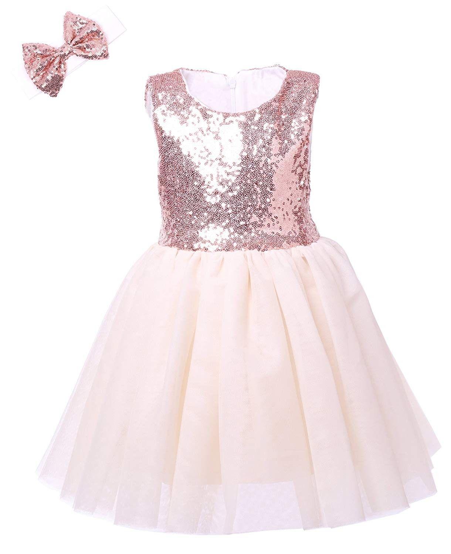 Dresses birthday toddlers sleeveless rose goldoff white