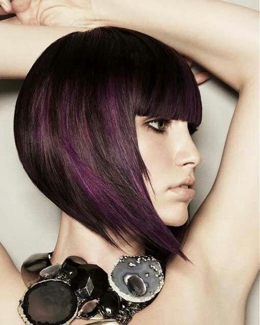 Graduated Chocolate Bob With Flashes Of Violet Hair Color Purple Hair Color For Black Hair Hair Styles